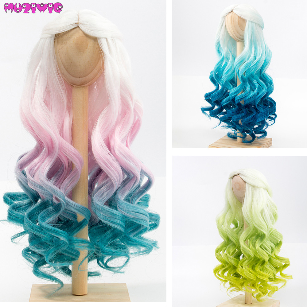 BJD/SD Dolls Wig Hair Heat Resistant Wire Long Curly White Pink Blue Green Ombre Wigs For 1/3 1/4 Dolls
