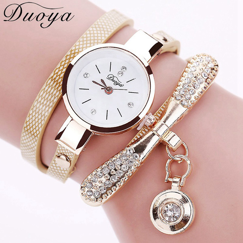 Duoya Fashion Luxury Brand New Women Rhinestone Gold Bracelet Watch Casual Leather Ladies Quartz Geneva Vintage Wristwatch duoya brand bracelet watches for women luxury gold crystal fashion quartz wristwatch clock ladies vintage watch dropshipping