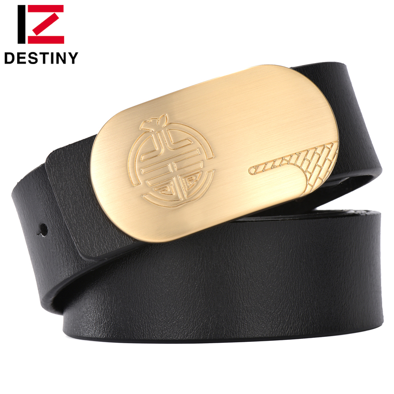 DESTINY men luxury belts smooth copper buckle belt high quality Leather brand Designer waist strap for man casual business apple