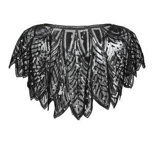 Image 3 - שחור צעיף קייפ בולרו משיכת הכתפיים עם חרוזים Armhole בציר בהשראת 1920s גטסבי הגדול סנפיר אמנות דקו יד עשה
