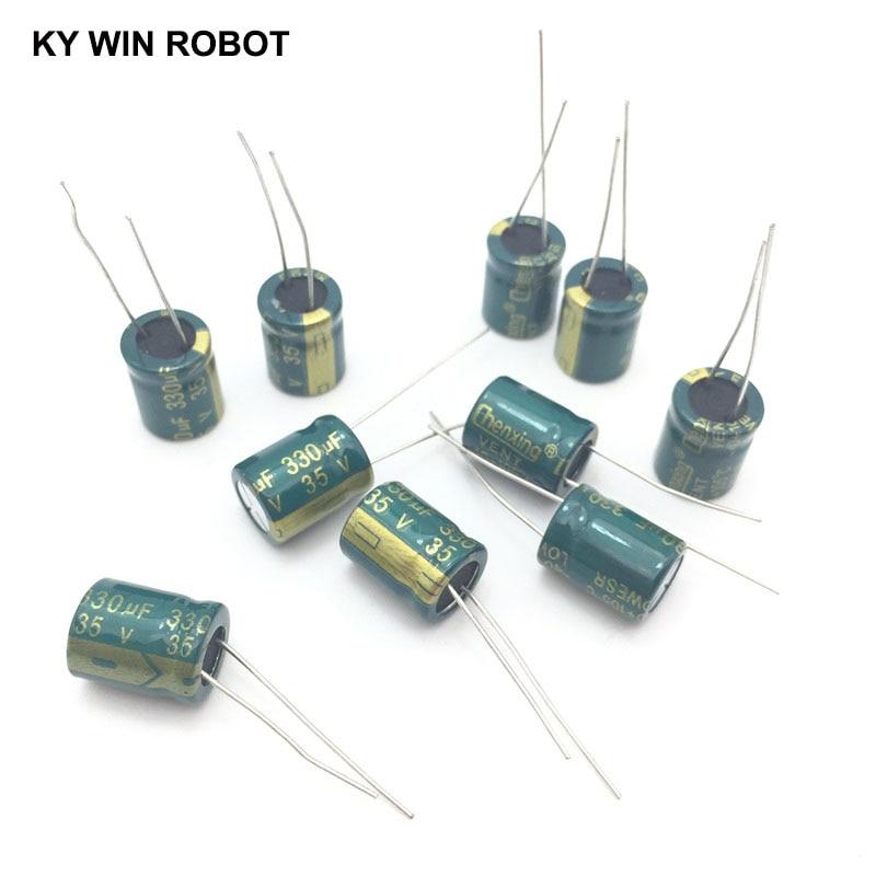 10 Pcs  Aluminum Electrolytic Capacitor 330 UF 35 V 10 * 13 Mm Frekuensi Tinggi Radial Electrolytic Kapasitor
