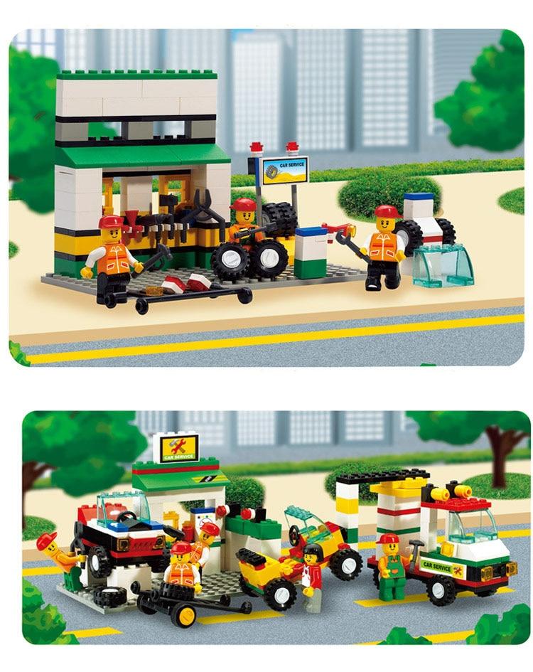 Models Building Toy 2500 City Bus Car Repair Station 414pcs Building