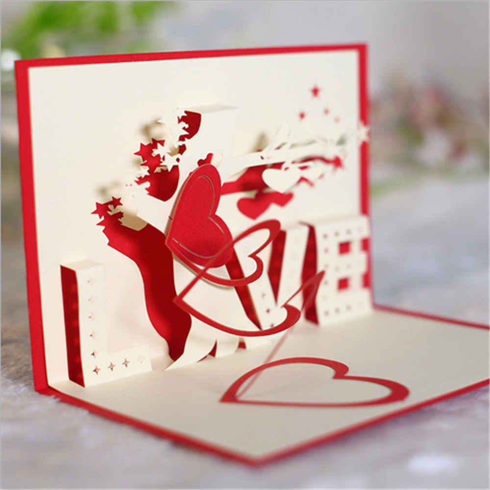 Valentines Day 3d Greeting Cards Handmade Paper Cut Folding Gift