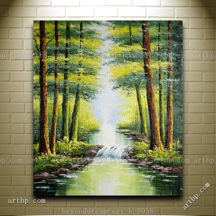 Small Waterfall In Early Autumn Oil Painting Naturalism