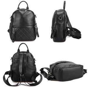 Image 5 - Женский винтажный рюкзак Zency из 100% натуральной кожи, элегантный черный повседневный рюкзак для отдыха, повседневные дорожные сумки, школьная сумка для девочек, белый цвет
