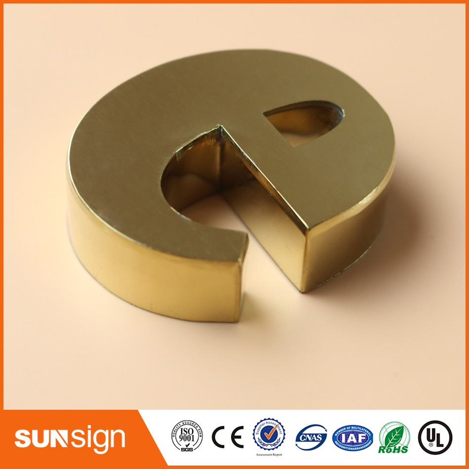 Custom 3d Metal Letters Sign Outdoor Wall Mounted Stainless Steel Sign Letters