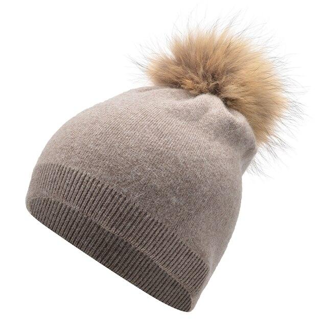 Новые зимние шапки для женщин чистый цвет шляпа теплый енот волосяная луковица крышка кашемир вязаная шапка