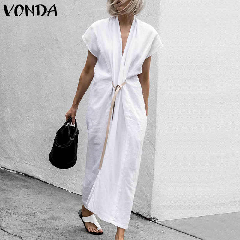VONDA Women Dress 2019 Summer See Through Sexy V Neck Tunic Belt Split Hem Long Dresses Female Short Sleeve Casual Loose Vestdos