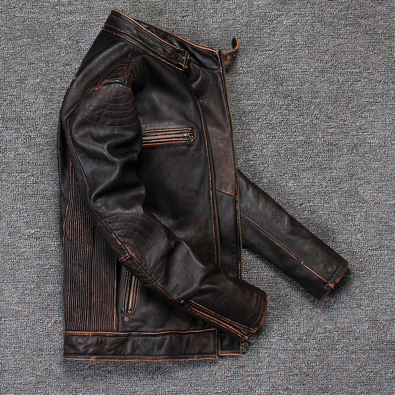 Vintage Genuine Leather Jacket Men Real 100% Real Cow Motorcycle Biker Pilot Baseball Casual Male Winter Warm Brown Leather Jack 4