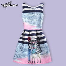 Girls Brand Dress Children Cute Cartoon Character Stripe Building Print Vest Dresses Kids Teenage Princess Casual