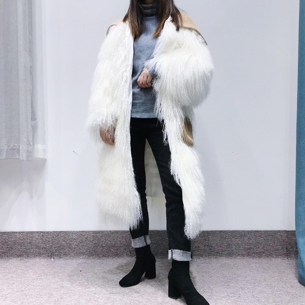 Mouton Solide Avec Nouvelle De Femmes Manteau taille Mode Hiver Blanc Mongolie Fourrure Réel 2018 Sauvage Poches Long Plein Tricoté 40qYZZ