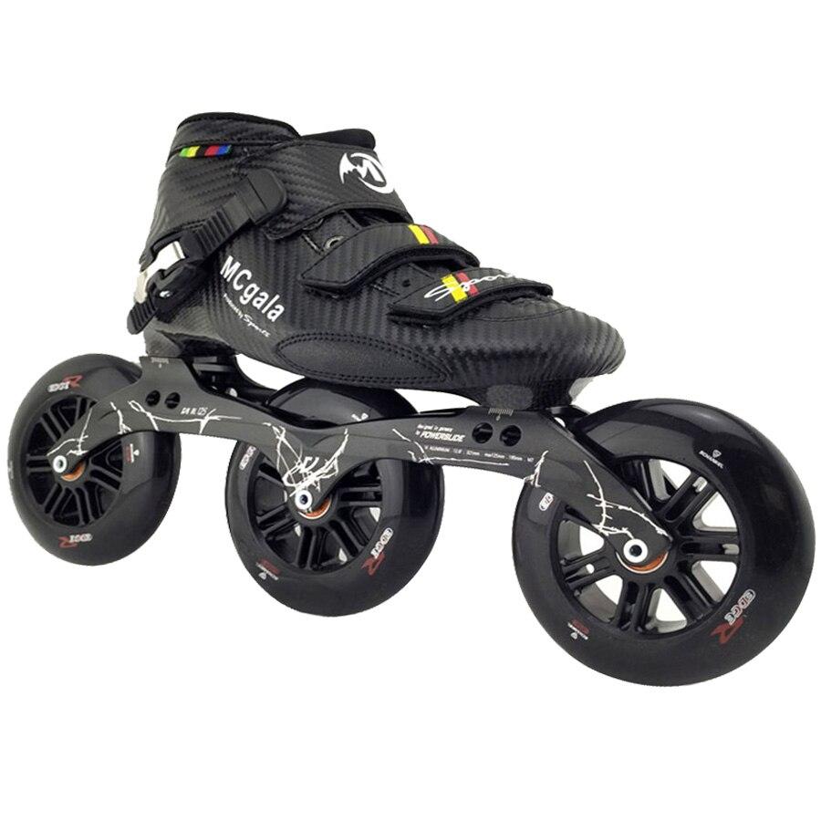 JEERKOOL Roller Patins à roulettes pour Enfants Adultes Hommes En Fiber De Carbone Débutant 3 Roues Patins Roller Chaussures SH39