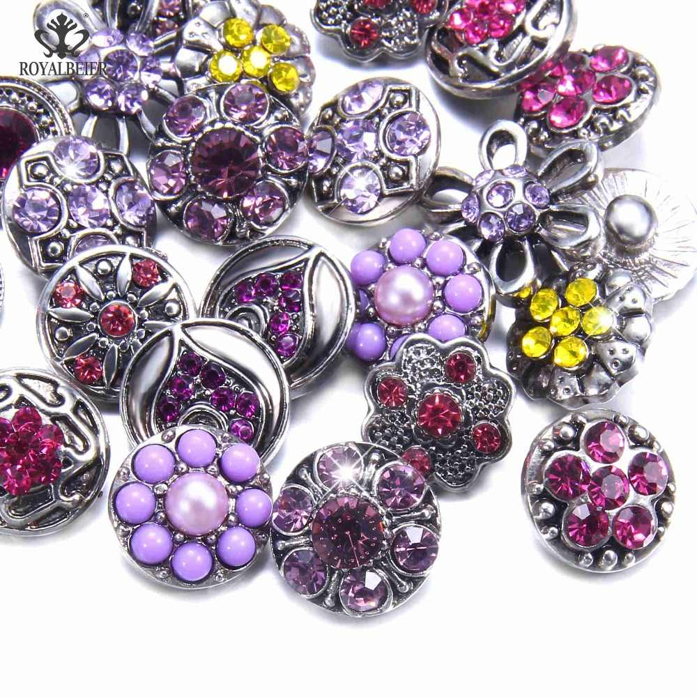 Royalbeier Newest 20pcs/lot Mixed Rhinestone Snap Buttons Metal Decorative Buttons fit 12mm DIY Snap Bracelet Jewelry Making