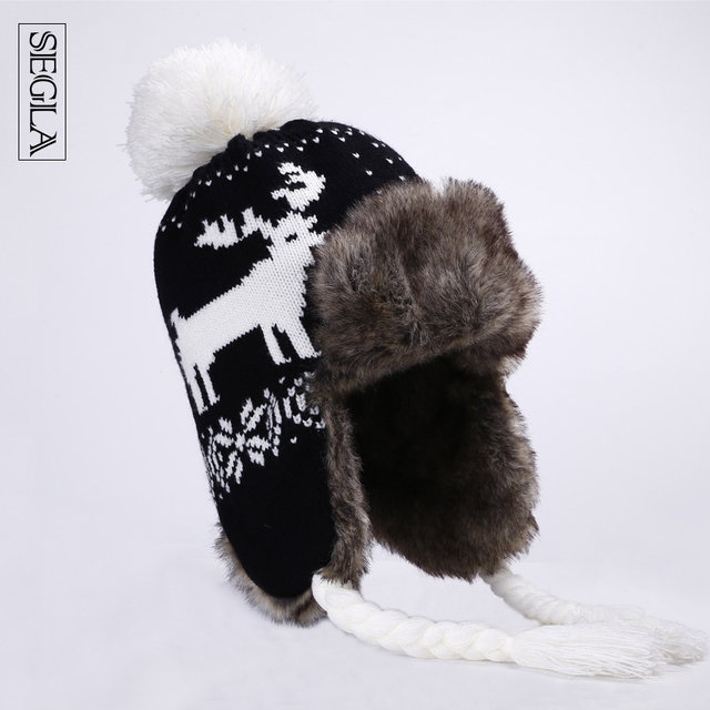 SEGLA Trapper Hats Women Winter Warm Plush Bomber Hat Pompom Faux Fur Wool Knitted Deer Snowflake Russian Ushanka Christmas Gift