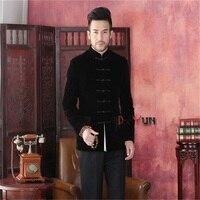 Spring Autumn New Black Chinese Traditional Men S Jacket Long Sleeve Velvet Coat Tang Suit Free