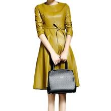 Di Cuoio DELL UNITÀ di elaborazione Delle Donne Abiti Feminino Con Cintura  Vestidos Solido Giallo Nero O Collo Del Vestito 2018 . bb4b45fb3b77