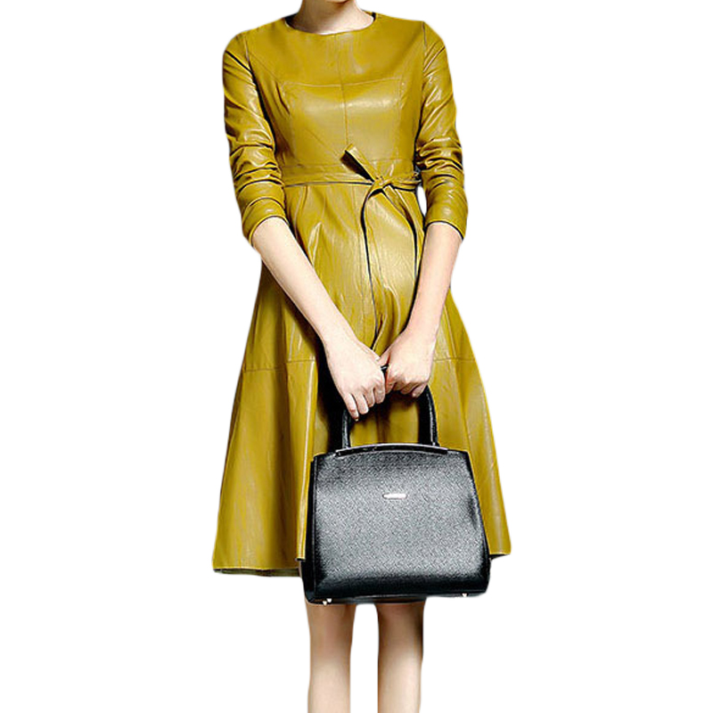 PU cuir femmes robes Feminino ceinturé Vestidos solide jaune noir Robe O cou 2018 automne hiver Robe mi-longue femme Robe XH1063