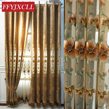Fine Floral Embroidered Luxury European Curtains Cloth For living Room Bedroom Tulle Fabric Windows Drapes