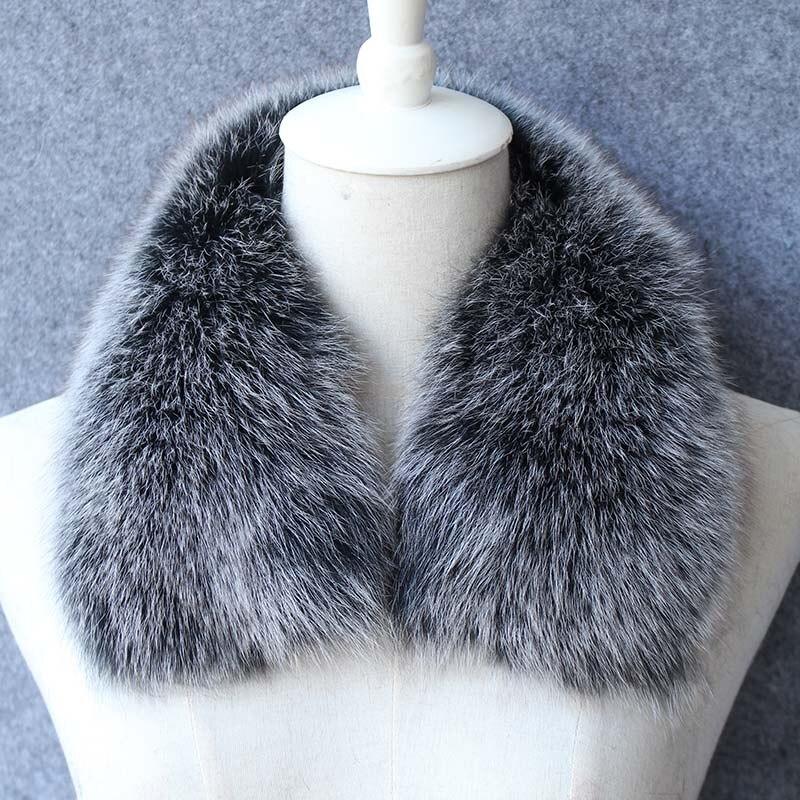 ladies 100% real black fox fur collar natural fur trim for coat winter warm fashion stole neck warmer Detachable Scarves female