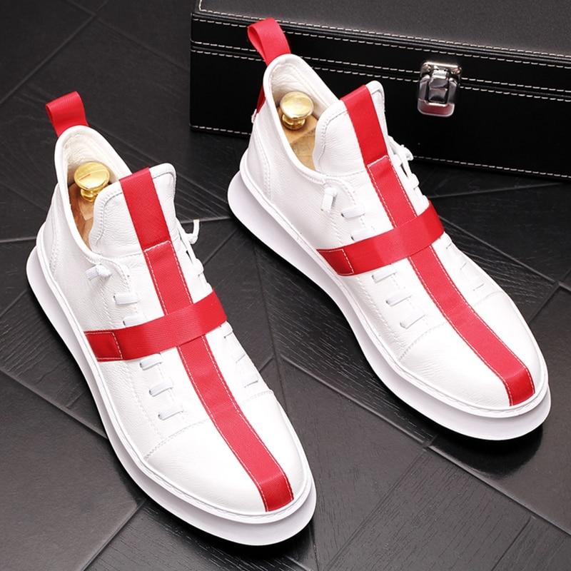 Stephoes 2019 luxury brand men 봄 가을 하이 탑 신발 남성 청소년 두꺼운 바닥 앵클 부츠 남성 힙합 레저 스니커즈-에서남성용 캐주얼 신발부터 신발 의  그룹 1