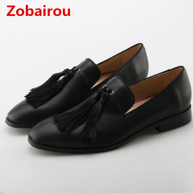 Zobairou 2018 zapatos hombre black leather shoes men loafers tassel causal flat wedding mens dress shoes oxford plus size