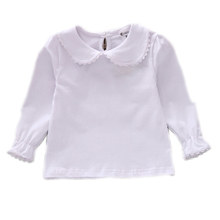 Autumn Bottoming Girls T shirt Ruffle Collar Girl Tops Tees Shirts Girl Blouse Cotton Long-sleeved Basic T-shirt Student T Shirt
