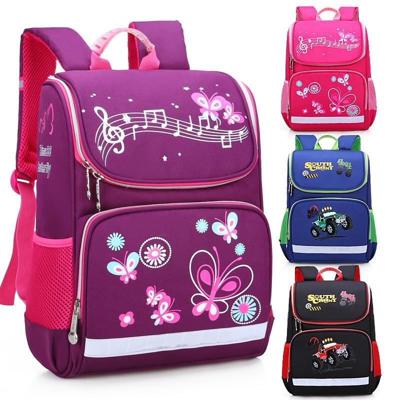Children Girls Printing Butterfly School Bags Boys Car Primary School Backpacks Kids Cartoon Student Bookbags Sac Enfant Bagpack