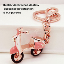 Pink Scooter Rhinestone Keychain New Design Motorcycle Fashion Rose Gold UVOGUE Brand Accessories Jewelry Wholesale