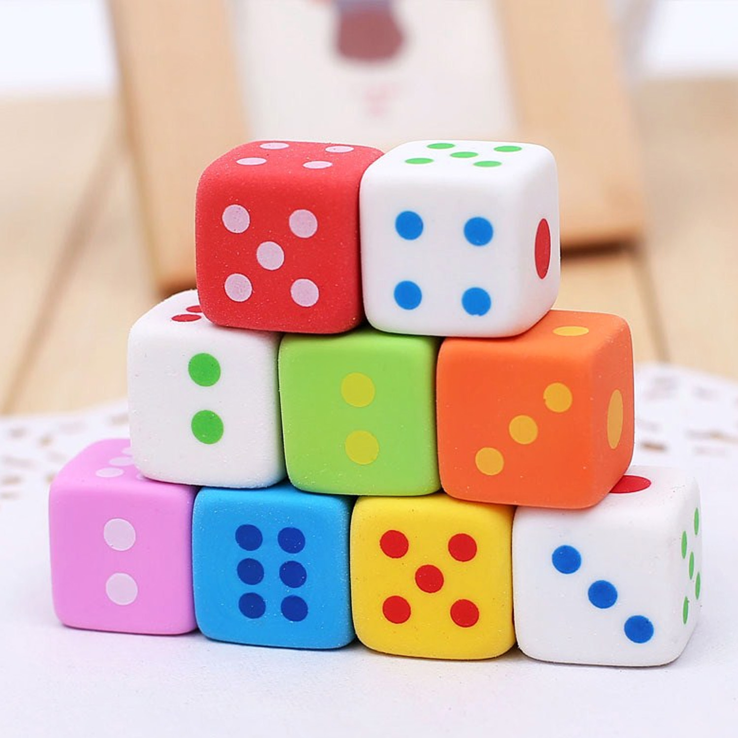 12pcs New Creative Kawaii Cute 3D Dice Shaped Pencil Erasers Toys School Office Stationery Supplies For Kids Children Drawing