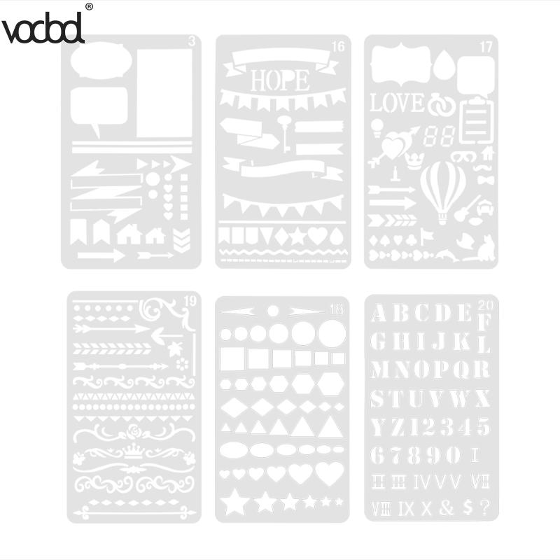 VODOOL 6pcs Layering Stencils for Scrapbooking/Photo Album Stamps Embossing DIY Template Letter Stencil para pintura em parede 2016 new scrapbook diy photo album cards transparent acrylic silicone rubber clear stamps sheet enjoy