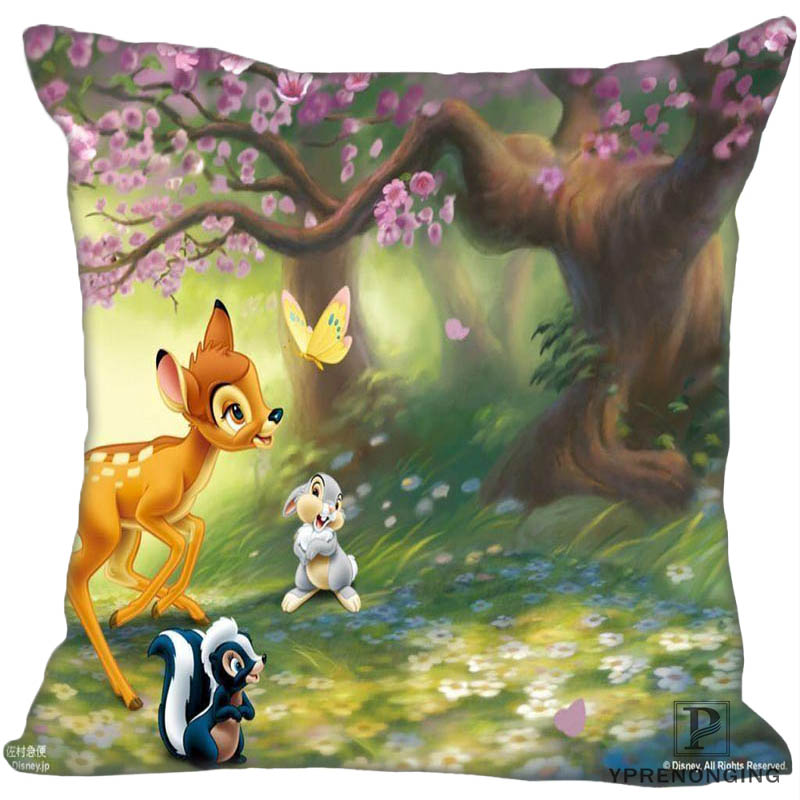 Custom Decorative Pillowcase Bambi And Faline Square Zippered Pillow Cover Best Gift 35X35,40x40,45x45cm(One Side)180516-03