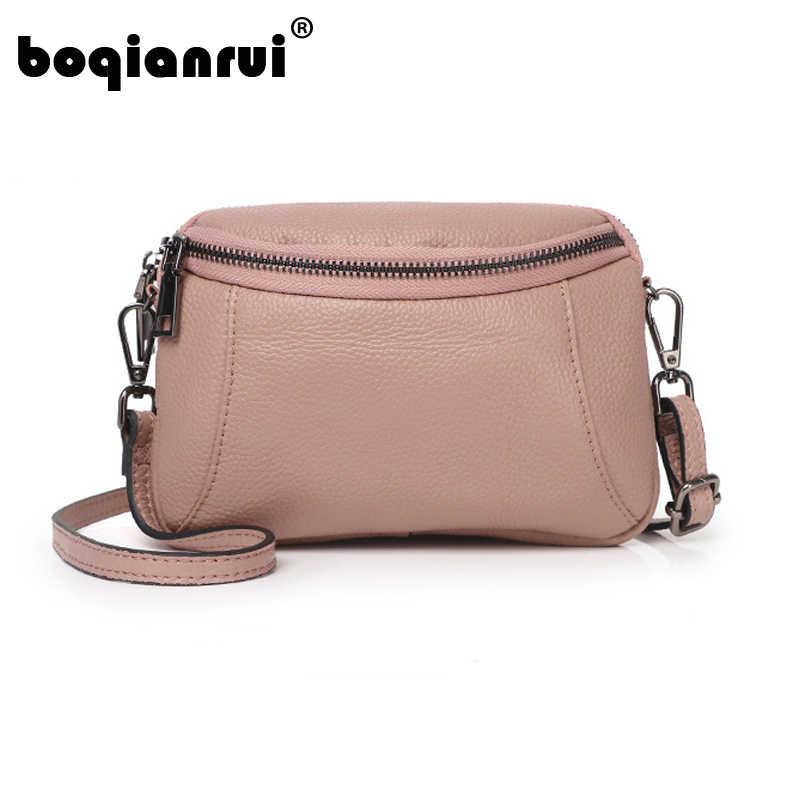 ce04d57ca9cc Женская сумка-мессенджер 2019 Повседневная Натуральная кожа Сумка через  плечо сумки для женщин модная сумка