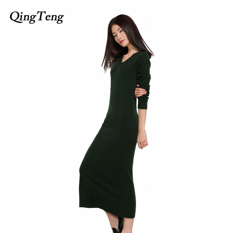 QingTeng Long Sleeve Dress Women Autumn Winter V Neck Wool Knitted Turtleneck Thick Warm Extra Long Dresses With Sleeves tanworders women thick warm winter hats 2017 autumn new knitted beanies hat button ski caps gorro invierno