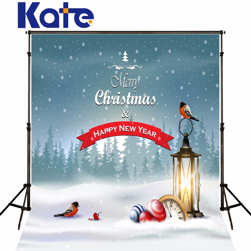 Kate Christmas Backdrops For Photography Frozen Snow Clock Birds for Children New Year Studio Backgrounds