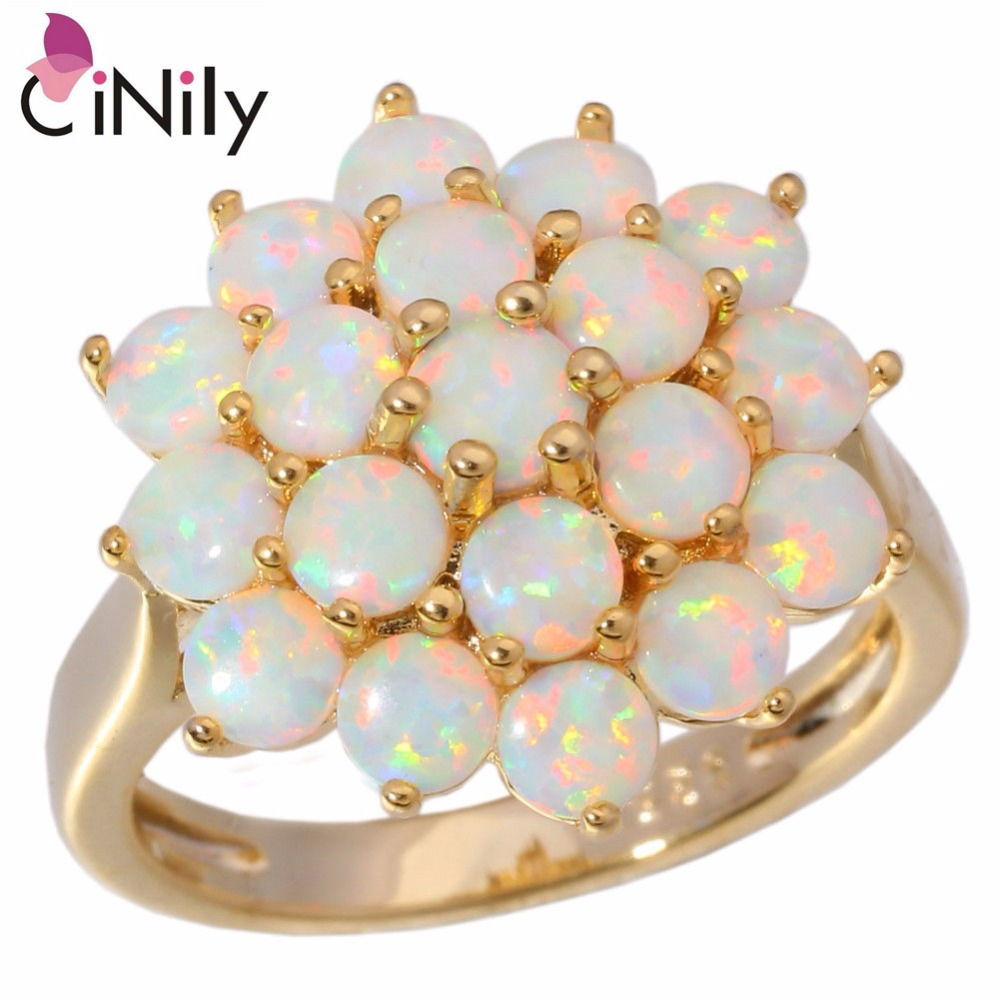 CiNily Luxury Large White Fire Opal Rings With Stone Yellow Gold Color Flower Flora Bohemia BOHO Summer Jewelry Gifts For Woman