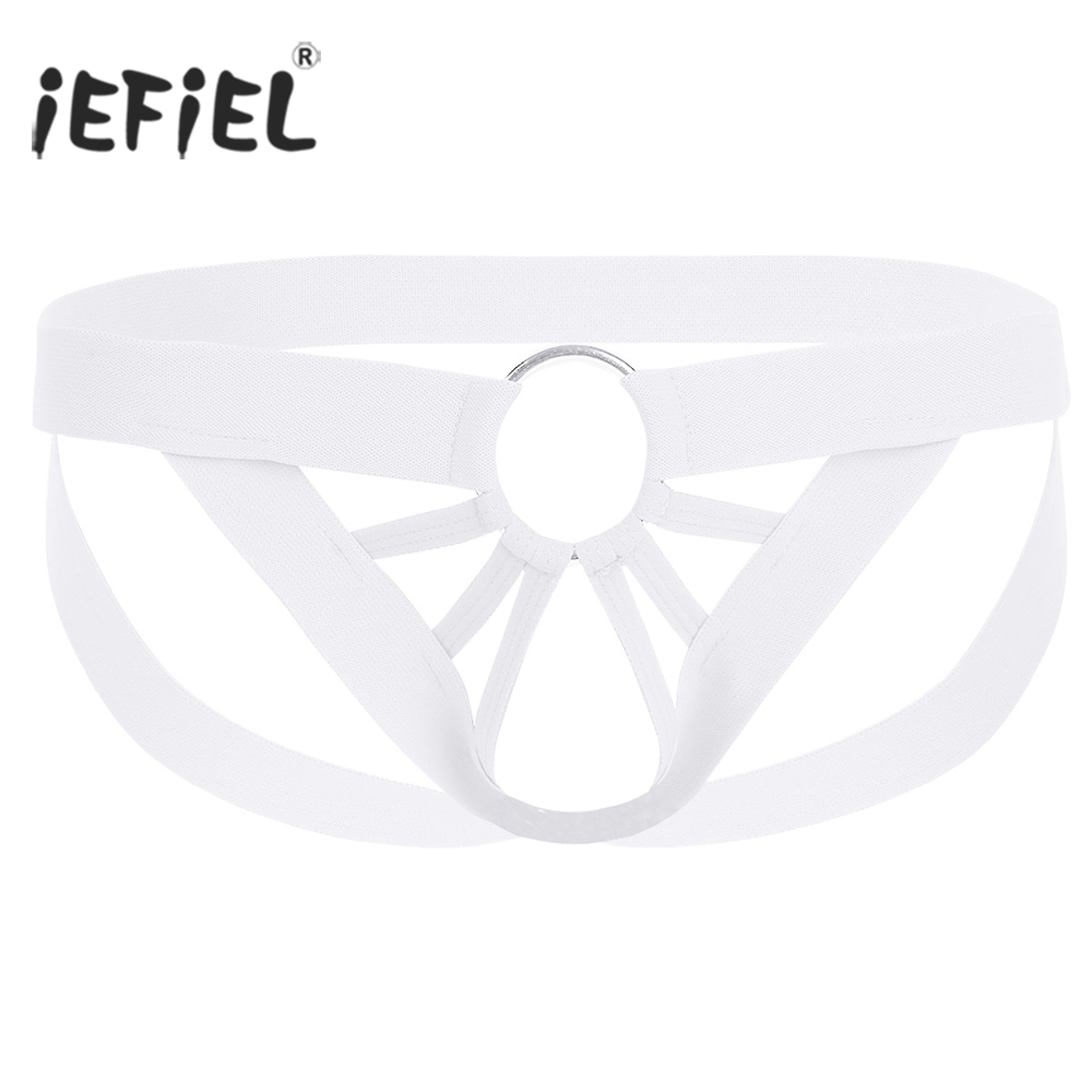 iEFiEL Men's Lingerie Panties Athletic Supporter Jockstraps Open Butt Sexy Gay Men Bikini Underwear Underpants with O-Ring