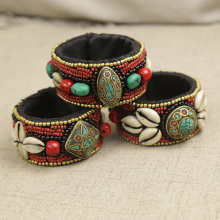 BB 168 Tibetan Fashion Open Cuff Bangle Tibet Ethnic Hand Sewed Shells Bohemian Bangle