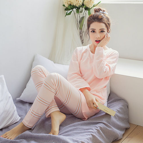 2016 Cotton Sleepwear Pajamas Set Full Sleeve Length Pants Lounge Pajamas Nightgowns Home Clothing Sleepwear homewear nightwear