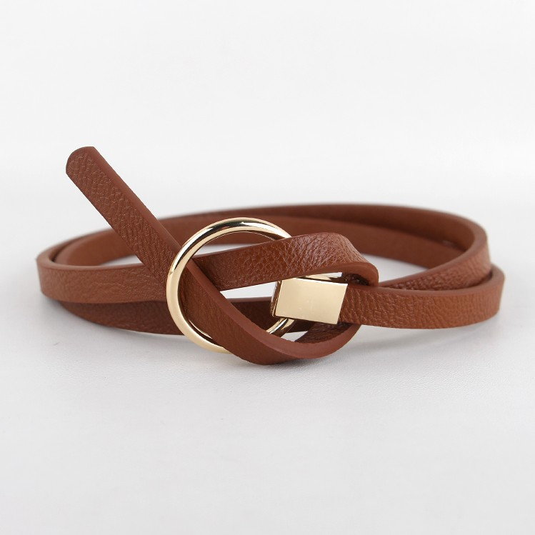 New Design Belts Women Knotted waist Belt thin Fashion Korean Small Belt Woman Dress decorate brown leather round buckle gifts