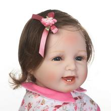 55cm Soft Silicone Reborn Babies Dolls Toy 20inch Newborn Smile Princess Girl Baby Doll With Bear Lovely Birthday Gift Present