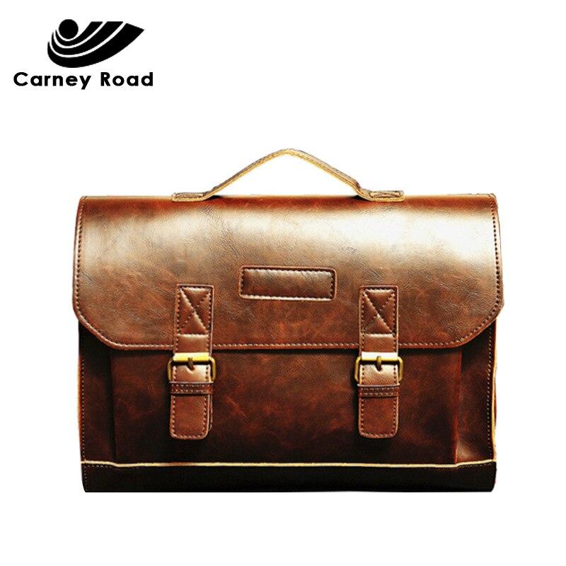 Carney Road Brand Crazy Horse Leather Briefcase Men Vintage Office Messenger Shoulder Bag Hand Bags 14 Inch Briefcases Bags