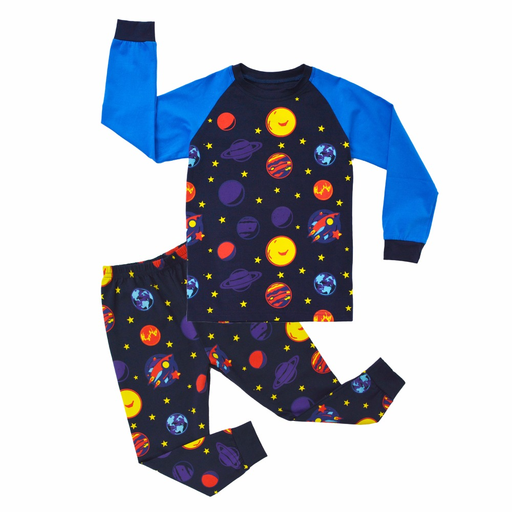 BINIDUCKLING Autumn Baby Boys Sleepwear Pajama Sets 3D Stars Printed t-shirt+pants 2pcs 100 % Cotton Baby Children's Clothing цены онлайн