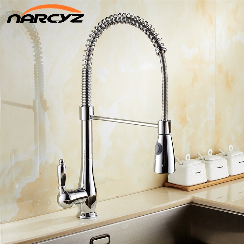Kitchen Faucet Newly Design 360 Swivel Solid Brass Single Handle Mixer Sink Tap Chrome Hot and Cold Water Torneira XT-65 chrome brass kitchen faucet spring vessel sink mixer tap hot and cold tap swivel spout single handle hole