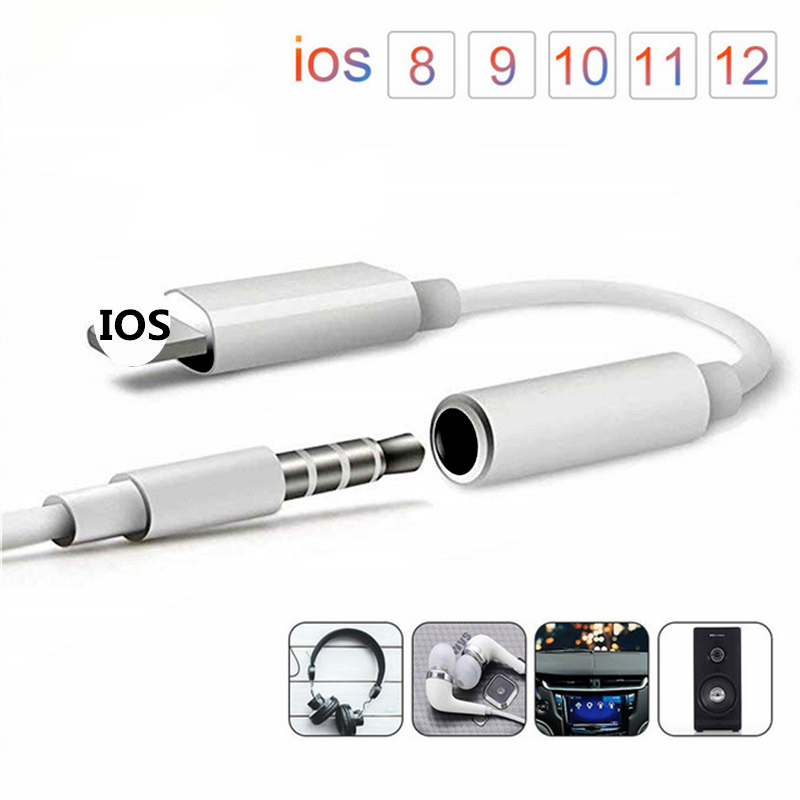 For IPhone To 3.5mm Jack Audio Extension Cable Aux Cord For IPhone XS Max XR XS X 10 8 7 6S Plus Car Speaker Headphone Connector