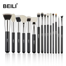 BEILI Premium natural Professional BlackMakeup Brush Goat Pony hair Eyeshadow Powder blusher Contour Makeup brush set(China)