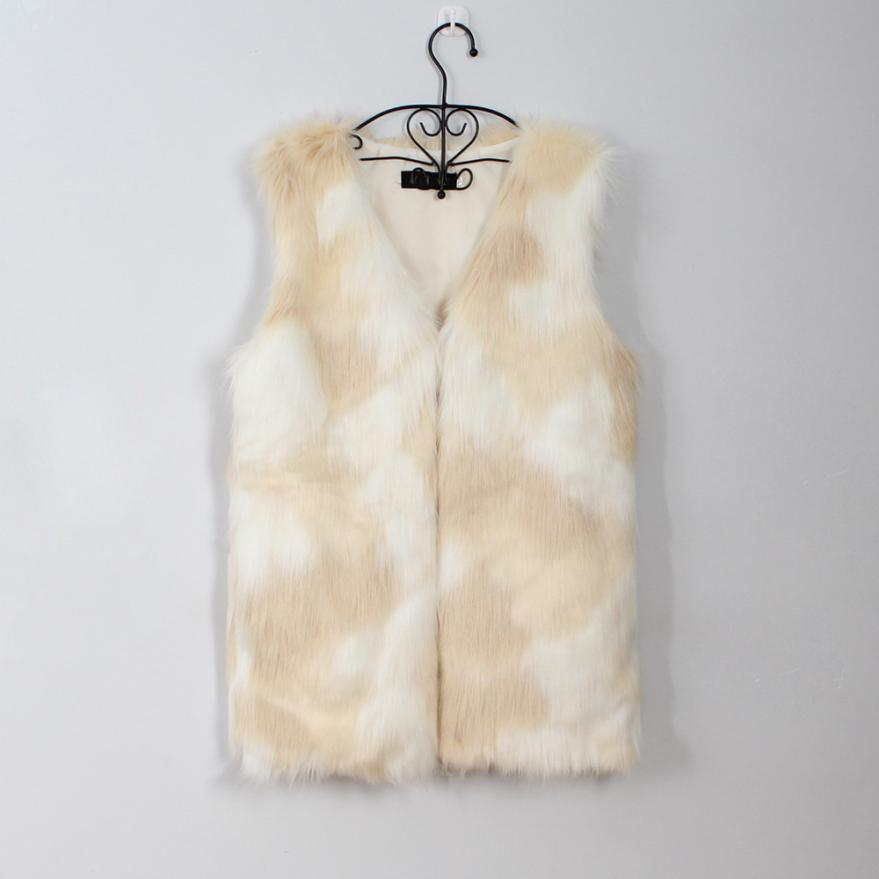 2017 jacket Women Faux Fur Ladies Sleeveless Vest Waistcoat Jacket Gilet Shrug Coat Outwear oct20