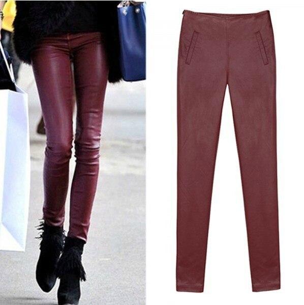 Big yards plus velvet PU leather pants skinny stretch jeans feet pants pencil pants female trousers boots pants.