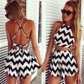 Новое поступление летняя одежда женские комплект сексуальный рукавов черный и белый полосатый - из бретели юбка мини Vestido размер