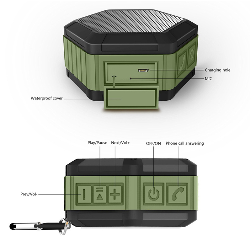 M&J IP67 Waterproof Mini Bluetooth Speaker With Powerful Sub Woofer For Outdoors 5