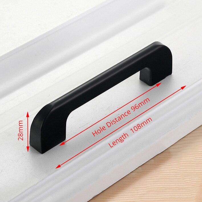 NAIERDI черные ручки шкафа американский стиль твердый алюминиевый сплав кухонный шкаф ручки для выдвижных ящиков оборудование для обработки мебели - Цвет: Handle-5005L-96B